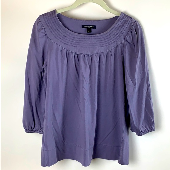 Banana Republic Quarter Sleeve Purple Blouse Small